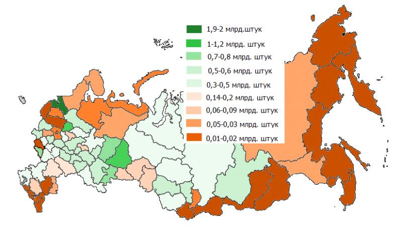 Где в России больше всего производят яиц?